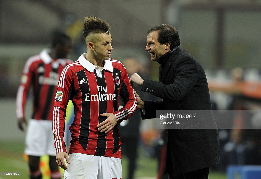 Stephan El Shaarawy of AC Milan and head coach Massimiliano Allegri during the Serie A match between AC Milan and S.S. Lazio at San Siro Stadium on March 2, 2013 in Milan, Italy.