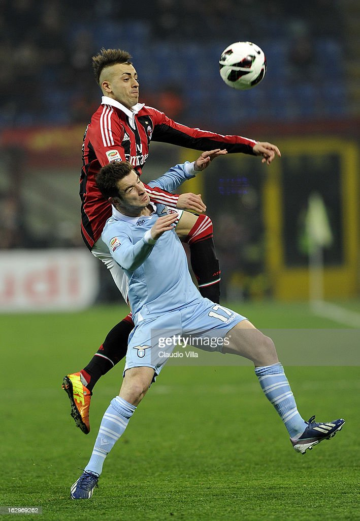 Stephan El Shaarawy of AC Milan and Pereirinha of S.S. Lazio #17 compete for the ball during the Serie A match between AC Milan and S.S. Lazio at San Siro Stadium on March 2, 2013 in Milan, Italy.