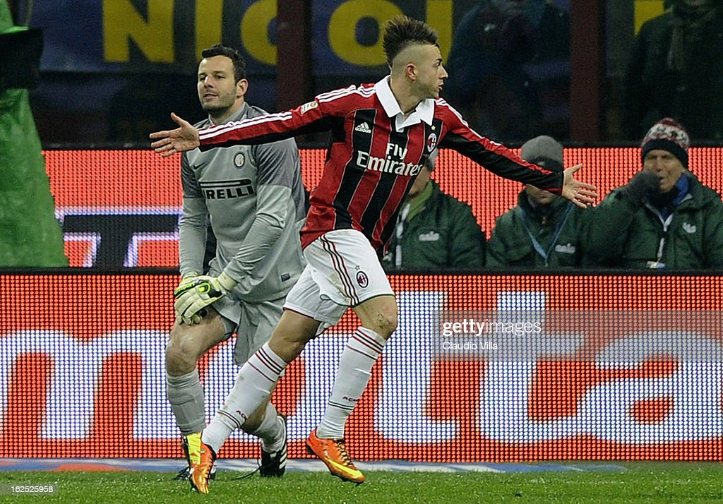 Stephan El Shaarawy of AC Milan (C) celebrates after scoring his team's first goal during the Serie A match FC Internazionale Milano and AC Milan at San Siro Stadium on February 24, 2013 in Milan, Italy.
