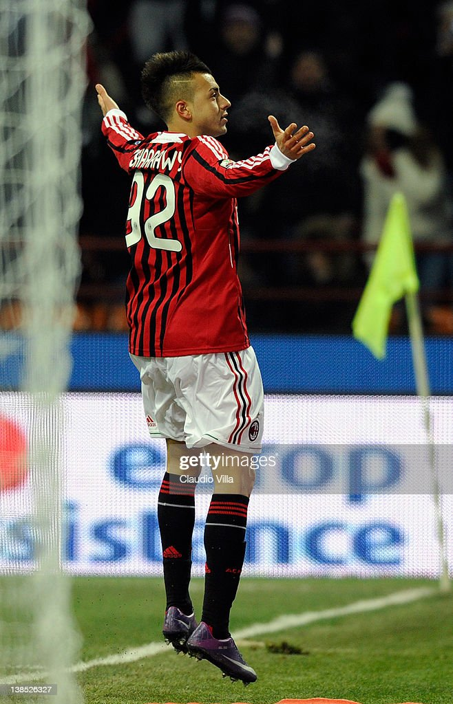 Stephan El Shaarawy of AC Milan celebrates after scoring the 101 equaliser during the Tim Cup match between AC Milan and Juventus FC at Giuseppe Meazza Stadium on February 8, 2012 in Milan, Italy.