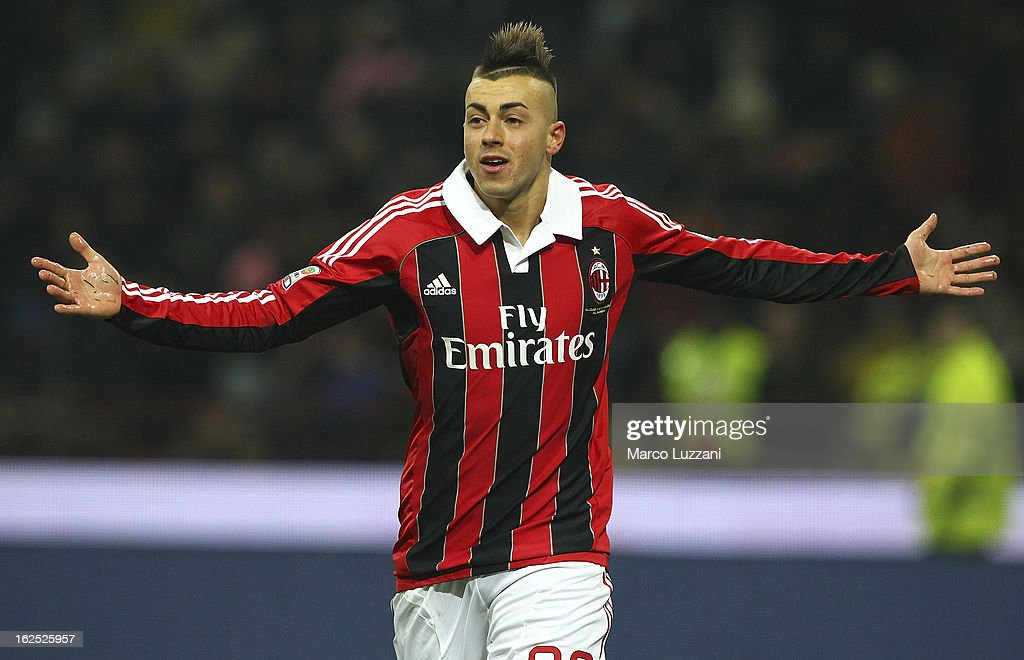 Stephan El Shaarawy of AC Milan celebrates after scoring the opening goal during the Serie A match FC Internazionale Milano and AC Milan at San Siro Stadium on February 24, 2013 in Milan, Italy.