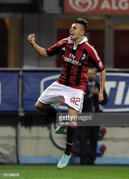 Stephan El Shaarawy of AC Milan celebrates scoring the first goal during the Serie A match between AC Milan and Cagliari Calcio at San Siro Stadium...