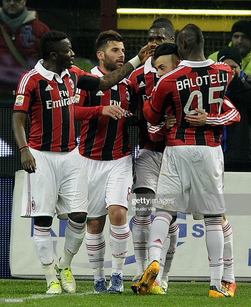 Stephan El Shaarawy of AC Milan (C) celebrates with his team-mates after scoring his team's first goal during the Serie A match FC Internazionale Milano and AC Milan at San Siro Stadium on February 24, 2013 in Milan, Italy.