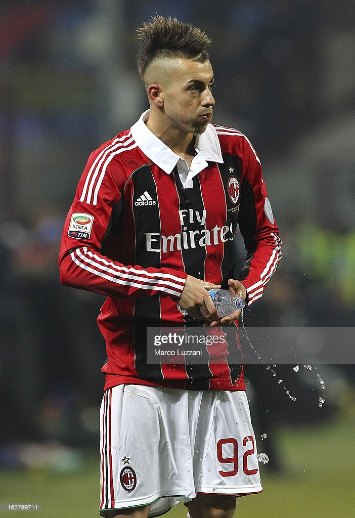 Stephan El Shaarawy of AC Milan drinks some water during the Serie A match FC Internazionale Milano and AC Milan at San Siro Stadium on February 24, 2013 in Milan, Italy.