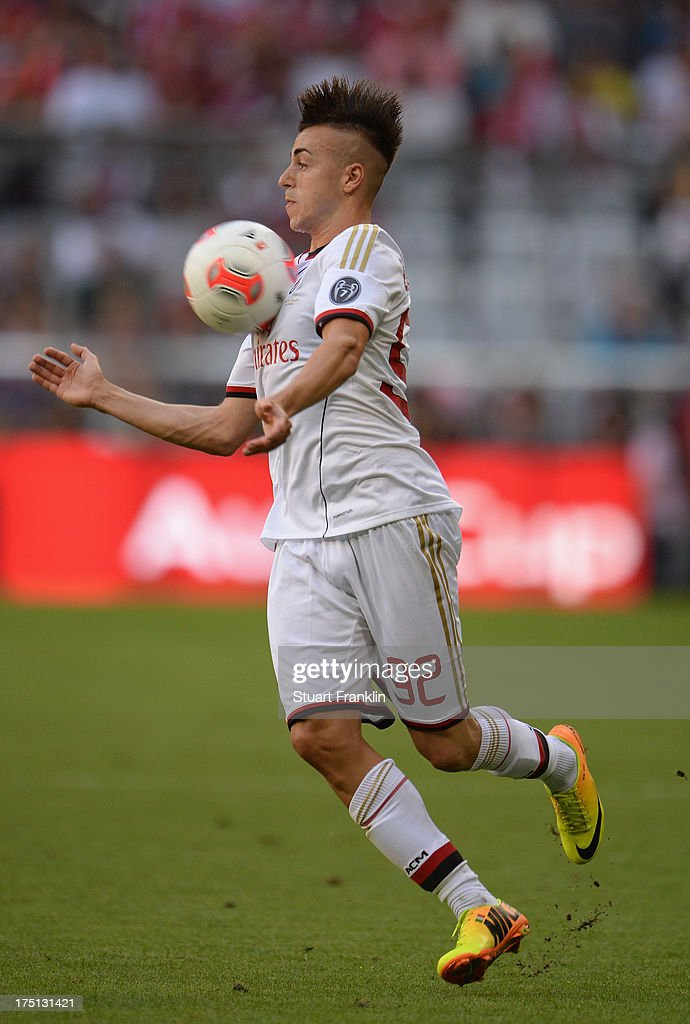 <a gi-track='captionPersonalityLinkClicked' href=/galleries/search?phrase=Stephan+El+Shaarawy&family=editorial&specificpeople=7181554 ng-click='$event.stopPropagation()'>Stephan El Shaarawy</a> of AC Milan in action during the Audi cup match between Manchester City and AC Milan at Allianz Arena on July 31, 2013 in Munich, Germany.