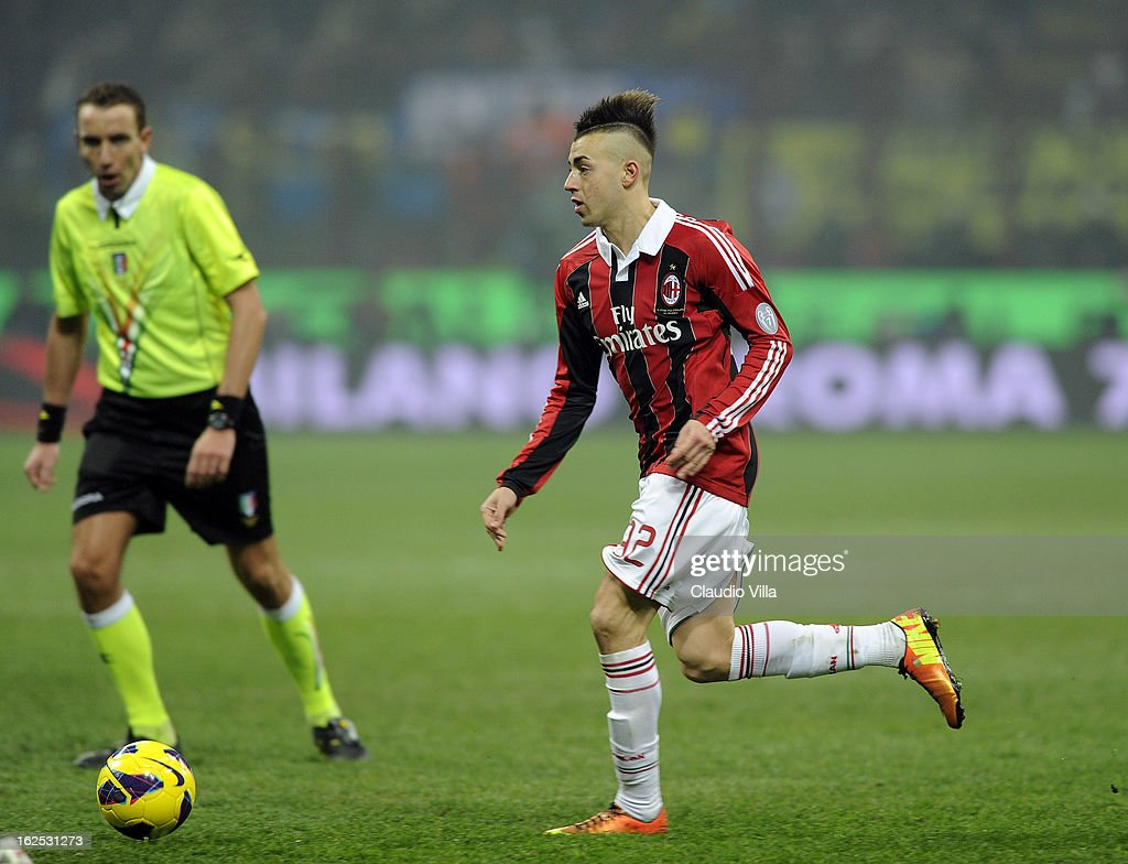 Stephan El Shaarawy of AC Milan in action during the Serie A match FC Internazionale Milano and AC Milan at San Siro Stadium on February 24, 2013 in Milan, Italy.