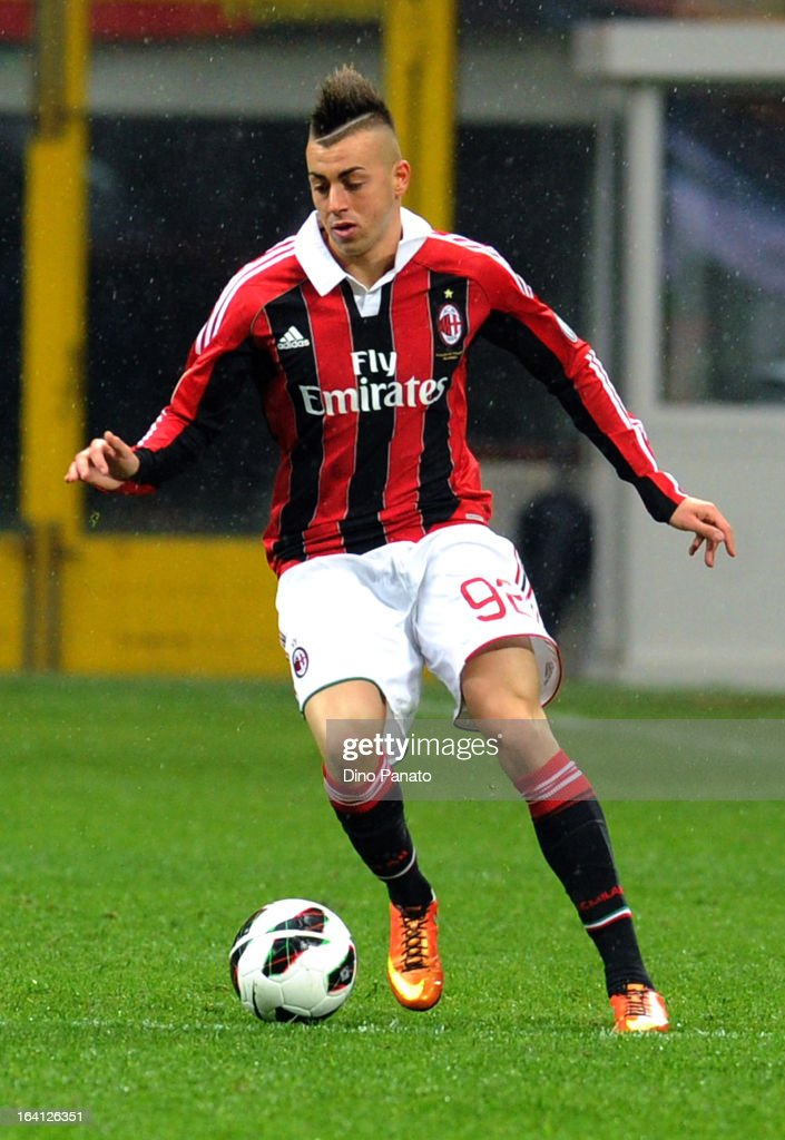 <a gi-track='captionPersonalityLinkClicked' href=/galleries/search?phrase=Stephan+El+Shaarawy&family=editorial&specificpeople=7181554 ng-click='$event.stopPropagation()'>Stephan El Shaarawy</a> of AC Milan in action during the Serie A match between AC Milan and US Citta di Palermo at San Siro Stadium on March 17, 2013 in Milan, Italy.