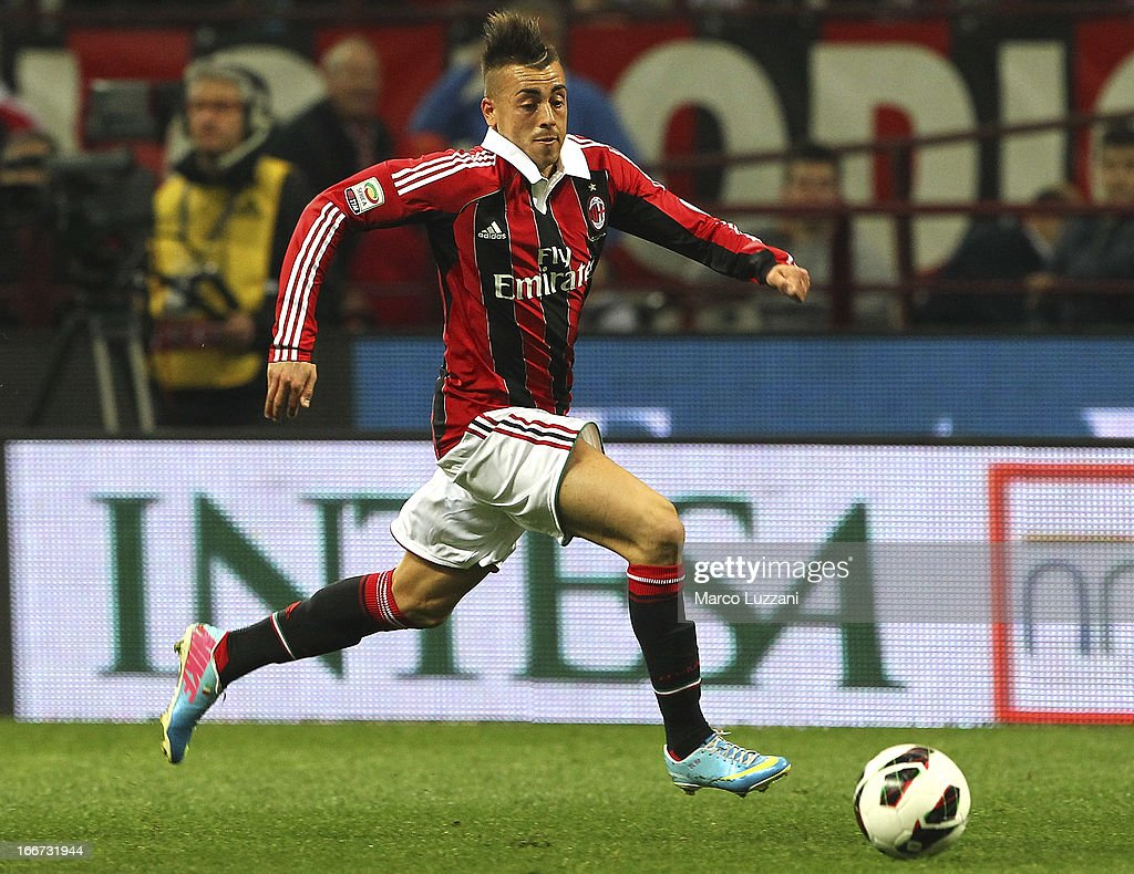 Stephan El Shaarawy of AC Milan in action during the Serie A match between AC Milan and SSC Napoli at San Siro Stadium on April 14, 2013 in Milan, Italy.