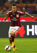 Stephan El Shaarawy of AC Milan in action during the Serie A match between AC Milan and ACF Fiorentina at Stadio Giuseppe Meazza on October 26 2014...