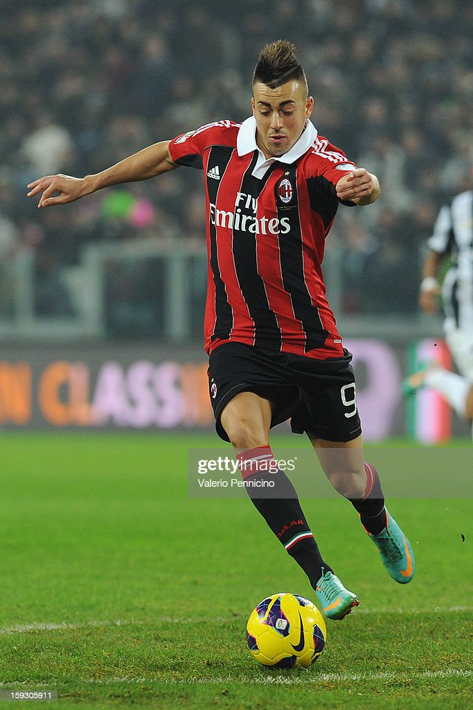 Stephan El Shaarawy of AC Milan in action during the TIM cup match between Juventus FC and AC Milan at Juventus Arena on January 9, 2013 in Turin, Italy.