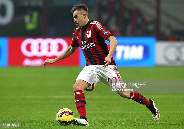 Stephan El Shaarawy of AC Milan in action during the TIM Cup match between AC Milan and US Sassuolo Calcio at Stadio Giuseppe Meazza on January 13...