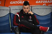 Stephan El Shaarawy of AC Milan is seen on the bench during the Serie A match betweeen AS Roma and AC Milan at Stadio Olimpico on December 20 2014 in...