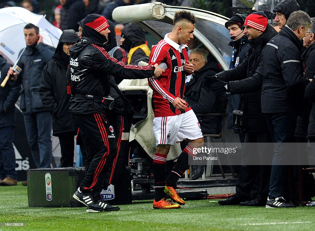 Stephan El Shaarawy of AC Milan leaves the field to be substituted for Niang during the Serie A match between AC Milan and US Citta di Palermo at San Siro Stadium on March 17, 2013 in Milan, Italy.