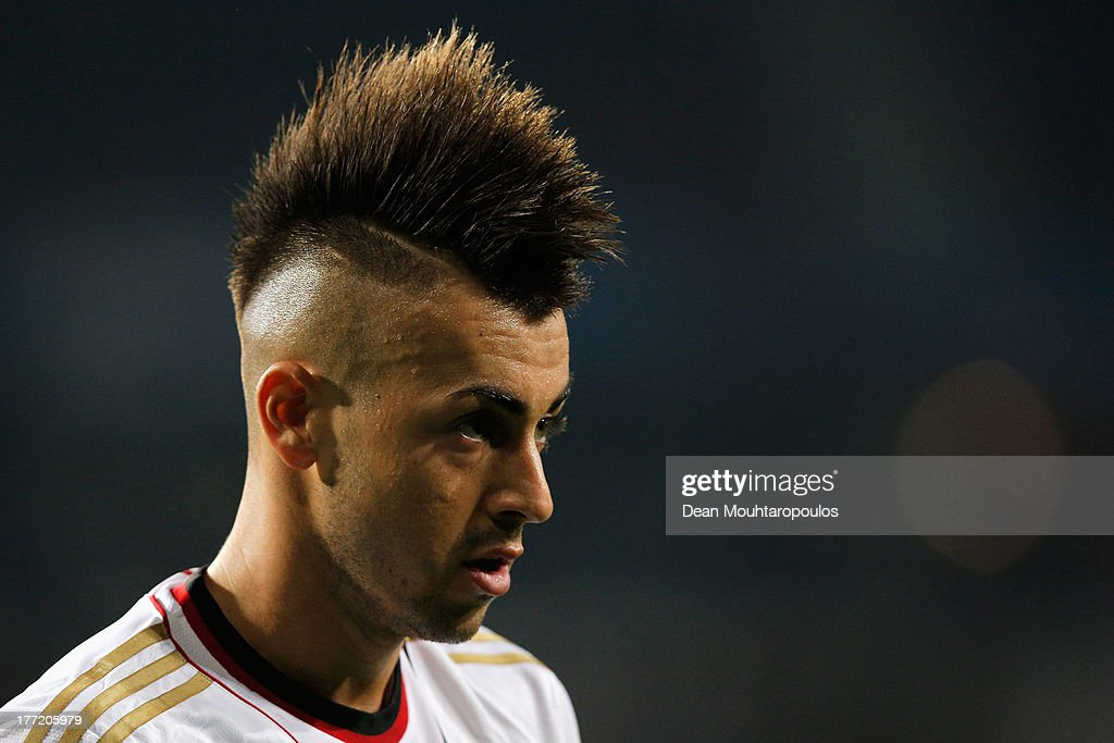 Stephan El Shaarawy of AC Milan looks on during the UEFA Champions League Play-off First Leg match between PSV Eindhoven and AC Milan at PSV Stadion on August 20, 2013 in Eindhoven, Netherlands.