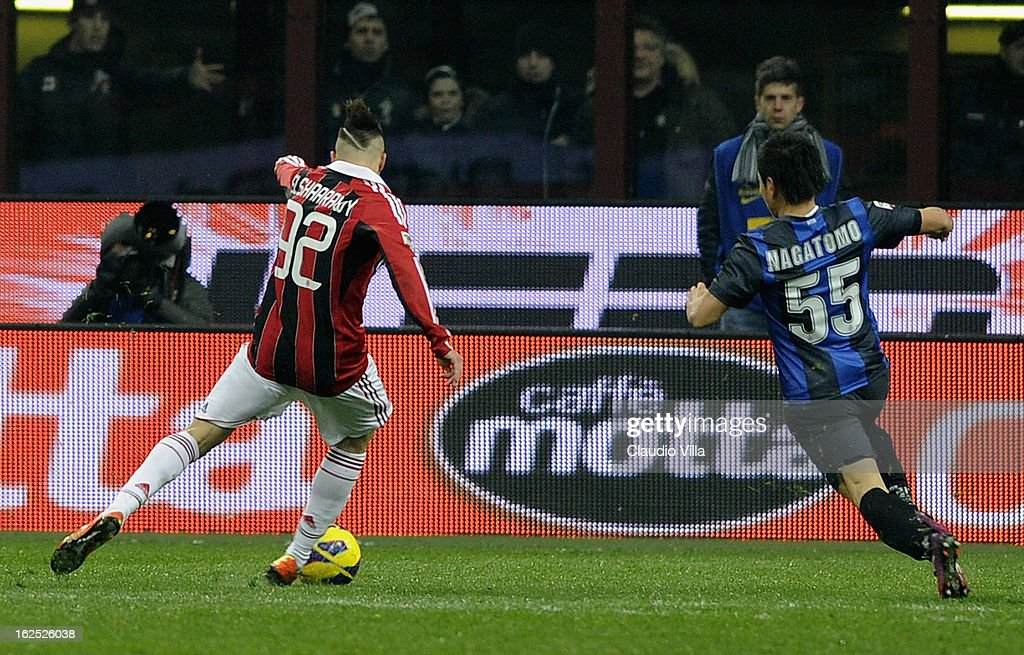 Stephan El Shaarawy of AC Milan #92 scores his team's first goal during the Serie A match FC Internazionale Milano and AC Milan at San Siro Stadium on February 24, 2013 in Milan, Italy.