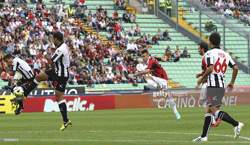 Stephan El Shaarawy of AC Milan scores their first goal during the Serie A match between Udinese Calcio and AC Milan at Stadio Friuli on September 23...
