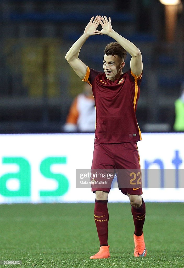<a gi-track='captionPersonalityLinkClicked' href=/galleries/search?phrase=Stephan+El+Shaarawy&family=editorial&specificpeople=7181554 ng-click='$event.stopPropagation()'>Stephan El Shaarawy</a> of AS Roma celebrates after scoring a goal during the Serie A match between Empoli FC and AS Roma at Stadio Carlo Castellani on February 27, 2016 in Empoli, Italy.