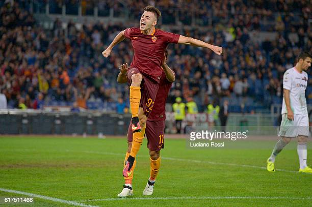 Stephan El Shaarawy of AS Roma celebrates after scoring a goal during the Serie A match between AS Roma and US Citta di Palermo at Stadio Olimpico on...