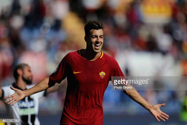 Stephan El Shaarawy of AS Roma celebrates after scoring the team's second goal during the Serie A match between AS Roma and Udinese Calcio at Stadio...