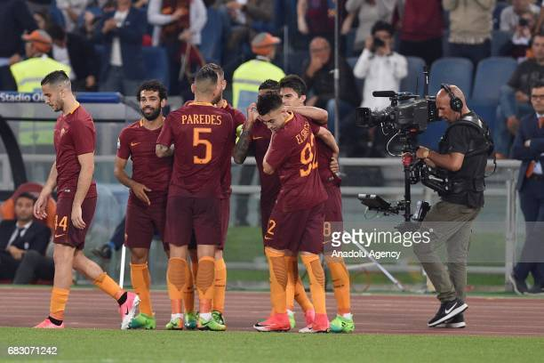 Stephan El Shaarawy of AS Roma celebrates with his teammates after scoring a goal during Italian Serie A soccer match between AS Roma and Juventus FC...