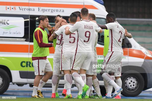 Stephan El Shaarawy of AS Roma celebrates with teammates after scoring his second goal during the Serie A match between AC ChievoVerona and AS Roma...