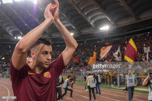 Stephan El Shaarawy of AS Roma greets his fans at the end of Serie A match between AS Roma and Juventus FC at Stadio Olimpico on May 14 2017 in Rome...