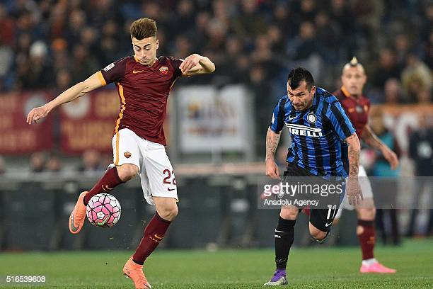 Stephan el Shaarawy of AS Roma in action against Gary Medel of FC Internanionale Milano during the Serie A football match between AS Roma and FC...