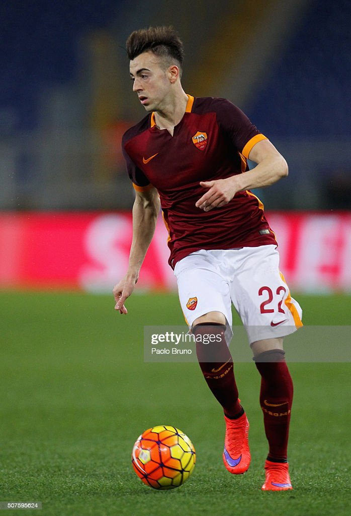 <a gi-track='captionPersonalityLinkClicked' href=/galleries/search?phrase=Stephan+El+Shaarawy&family=editorial&specificpeople=7181554 ng-click='$event.stopPropagation()'>Stephan El Shaarawy</a> of AS Roma in action during the Serie A match between AS Roma and Frosinone Calcio at Stadio Olimpico on January 30, 2016 in Rome, Italy.