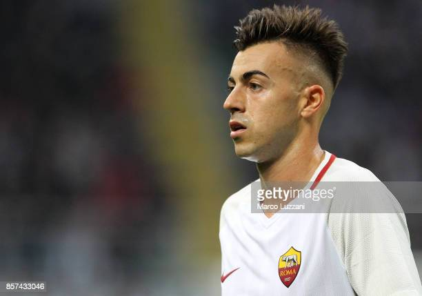 Stephan El Shaarawy of AS Roma looks on during the Serie A match between AC Milan and AS Roma at Stadio Giuseppe Meazza on October 1 2017 in Milan...