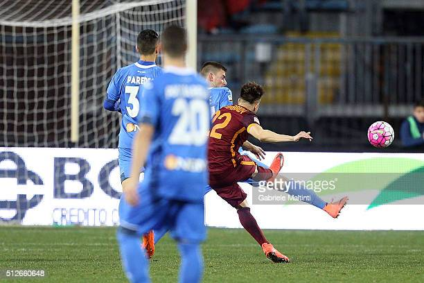 Stephan El Shaarawy of AS Roma scores the opening goal during the Serie A match between Empoli FC and AS Roma at Stadio Carlo Castellani on February...