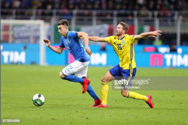 Stephan El Shaarawy of Italy and Marcus Rohden on Sweden during the FIFA 2018 World Cup playoff Qualifier match between Italy and Sweden Aggregate...