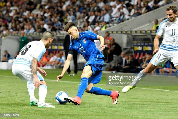 Stephan El Shaarawy of Italy and Maximiliano Pereira of Uruguay during the International Friendly match between Italy and Uruguay on June 7 2017 in...