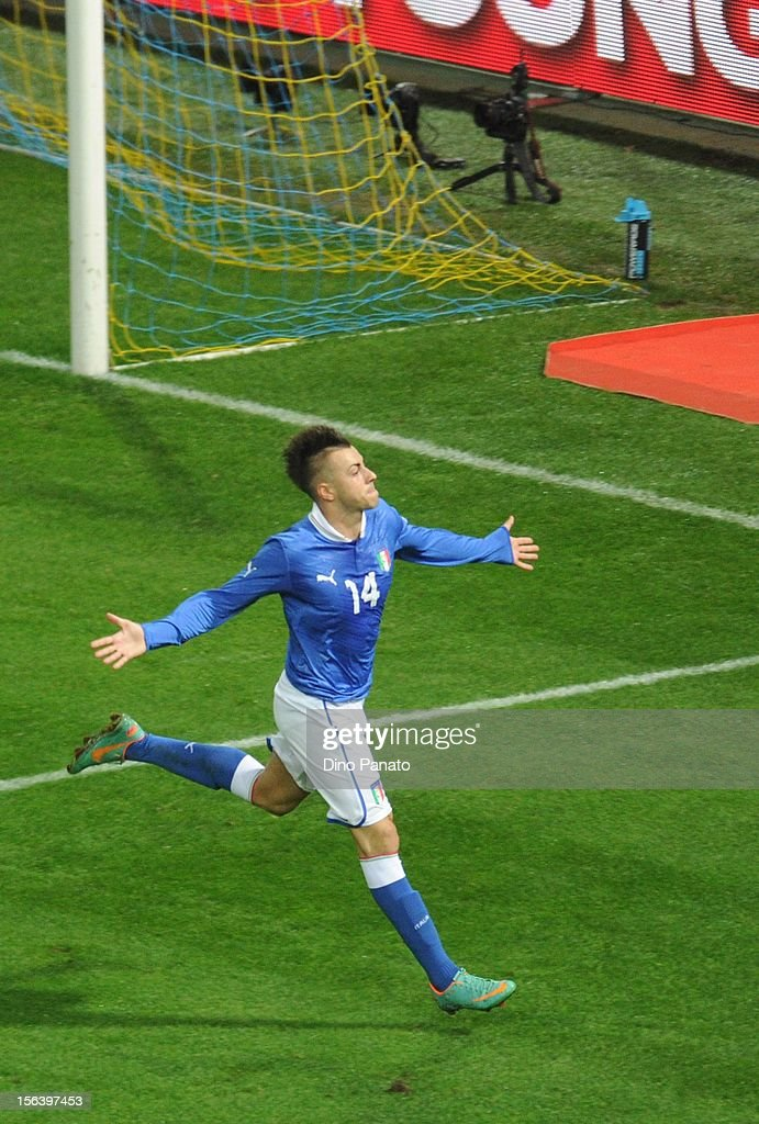 Stephan El Shaarawy of Italy celebrates after scoring the opening goal during the international friendly match between Italy and France at Stadio Ennio Tardini on November 14, 2012 in Parma, Italy.