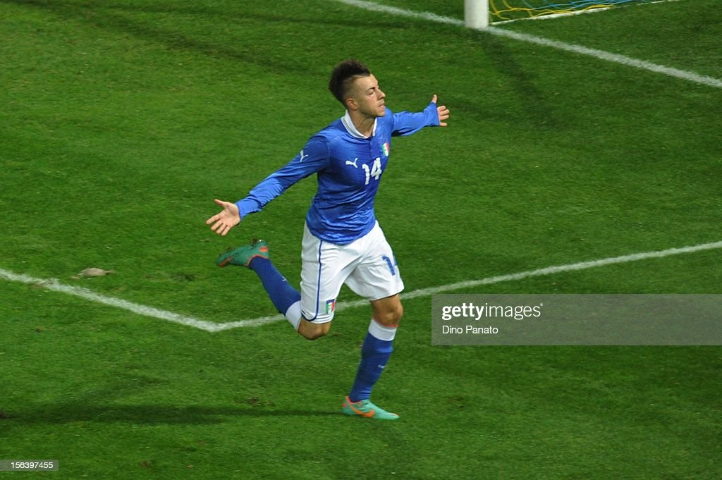 <a gi-track='captionPersonalityLinkClicked' href=/galleries/search?phrase=Stephan+El+Shaarawy&family=editorial&specificpeople=7181554 ng-click='$event.stopPropagation()'>Stephan El Shaarawy</a> of Italy celebrates after scoring the opening goal during the international friendly match between Italy and France at Stadio Ennio Tardini on November 14, 2012 in Parma, Italy.