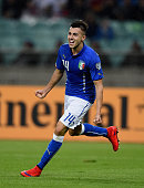 Stephan El Shaarawy of Italy celebrates after scoring the second goal during the UEFA Euro 2016 qualifying football match between Azerbaijan and...