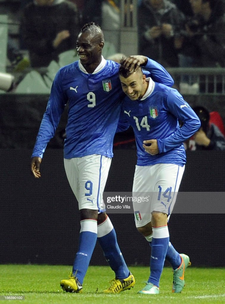<a gi-track='captionPersonalityLinkClicked' href=/galleries/search?phrase=Stephan+El+Shaarawy&family=editorial&specificpeople=7181554 ng-click='$event.stopPropagation()'>Stephan El Shaarawy</a> of Italy (R) celebrates with his team-mate <a gi-track='captionPersonalityLinkClicked' href=/galleries/search?phrase=Mario+Balotelli&family=editorial&specificpeople=4940446 ng-click='$event.stopPropagation()'>Mario Balotelli</a> after scoring the first goal during the international friendly match between Italy and France at Stadio Ennio Tardini on November 14, 2012 in Parma, Italy.