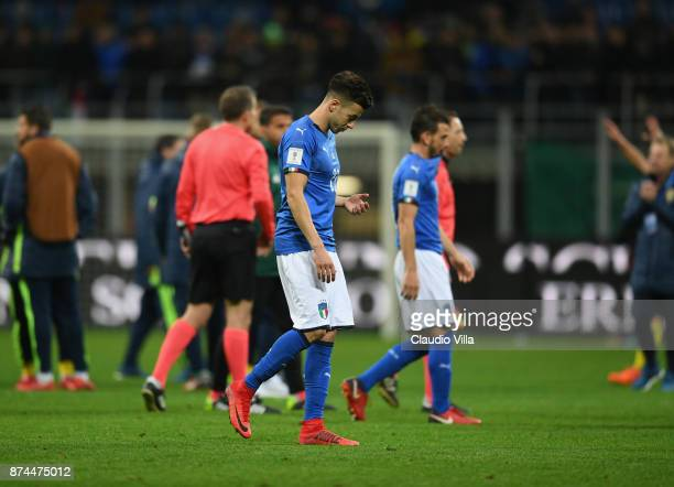 Stephan El Shaarawy of Italy dejected at the end of the FIFA 2018 World Cup Qualifier PlayOff Second Leg between Italy and Sweden at San Siro Stadium...
