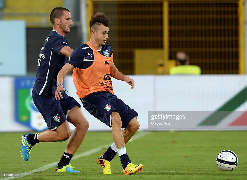 Stephan El Shaarawy (R) of Italy during a training session at Stadio Renzo Barbera on September 5, 2013 in Palermo, Italy.