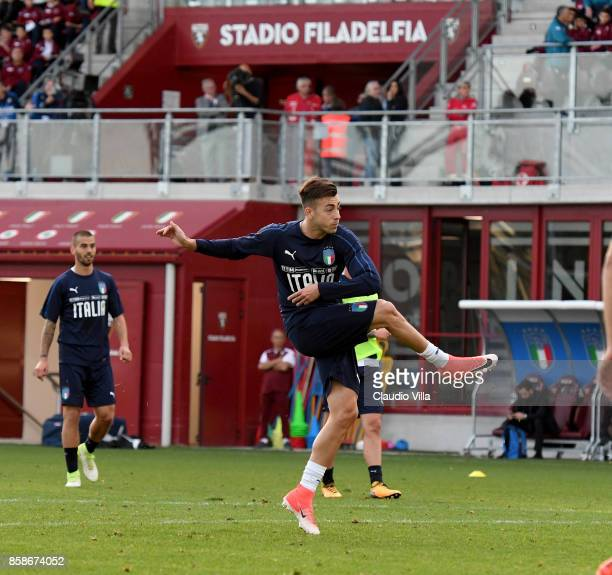 Stephan El Shaarawy of Italy in action during a Italy training session at Filadelfia Stadium on October 7 2017 in Turin Italy
