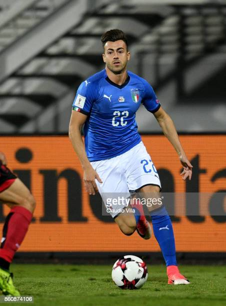 Stephan El Shaarawy of Italy in action during the FIFA 2018 World Cup Qualifier between Albania and Italy at Loro Borici Stadium on October 9 2017 in...