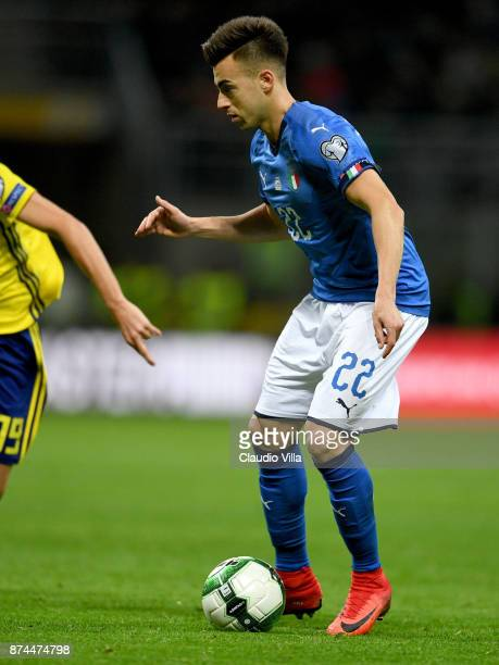Stephan El Shaarawy of Italy in action during the FIFA 2018 World Cup Qualifier PlayOff Second Leg between Italy and Sweden at San Siro Stadium on...