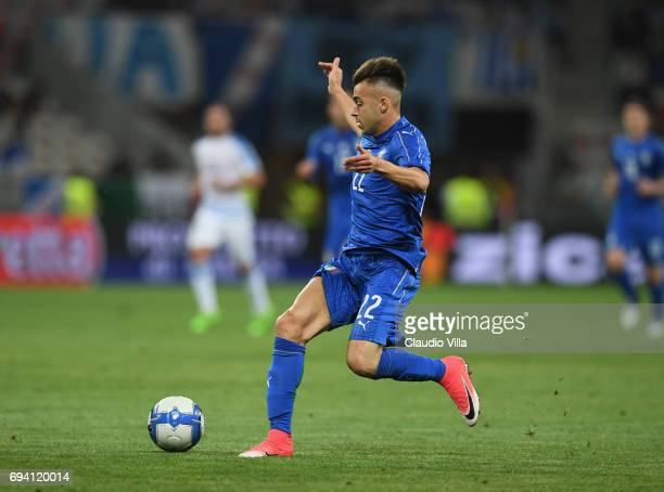 Stephan El Shaarawy of Italy in action during the International Friendly match between Italy and Uruguay at Allianz Riviera Stadium on June 7 2017 in...