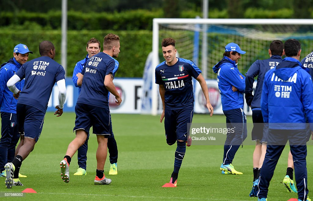 Stephan El Shaarawy of Italy (C) in action during the Italy training session at the club's training ground at Coverciano on June 02, 2016 in Florence, Italy.