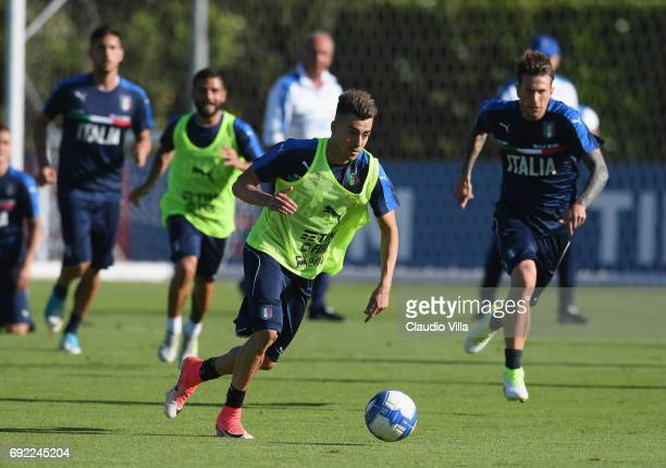 Stephan El Shaarawy of Italy in action during the training session at Coverciano at Coverciano on June 04 2017 in Florence Italy