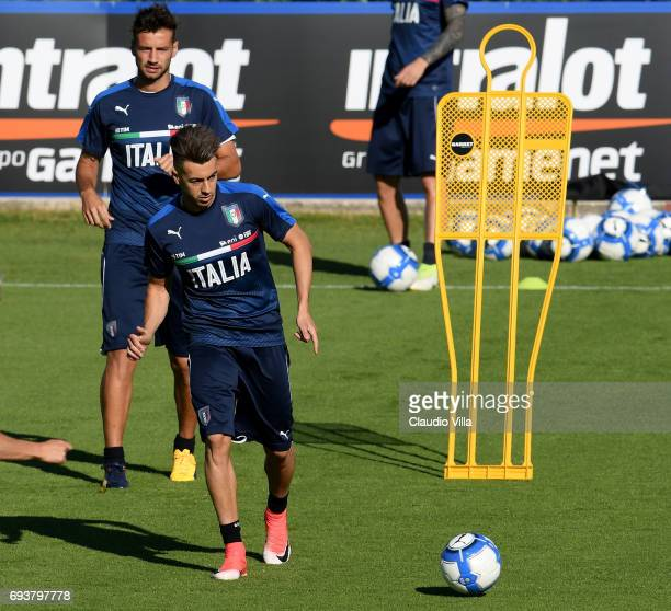 Stephan El Shaarawy of Italy in action during the training session at Coverciano on June 08 2017 in Florence Italy
