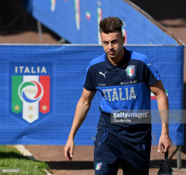 Stephan El Shaarawy of Italy looks on prior to the training session at Coverciano at Coverciano on June 04 2017 in Florence Italy