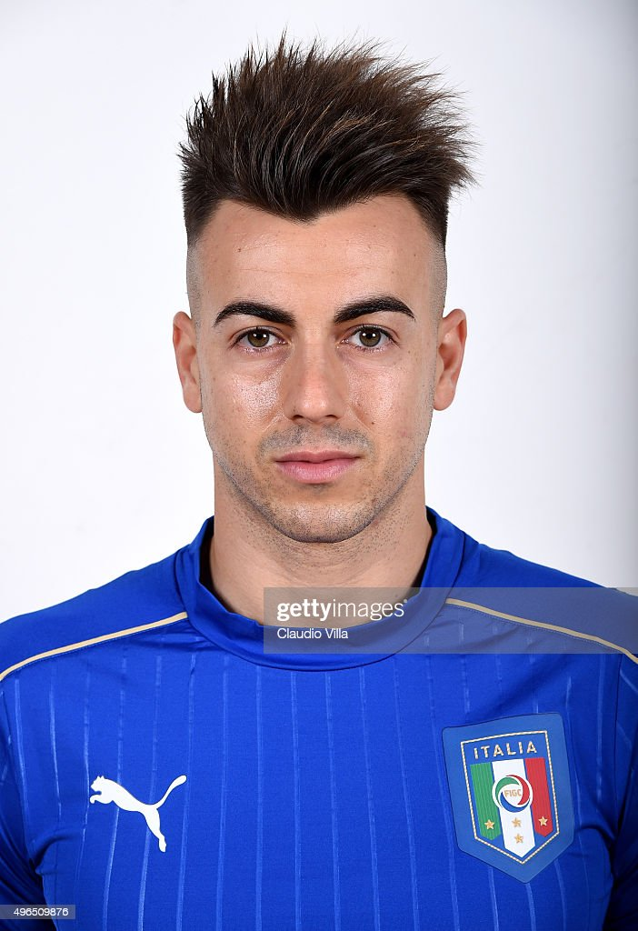<a gi-track='captionPersonalityLinkClicked' href=/galleries/search?phrase=Stephan+El+Shaarawy&family=editorial&specificpeople=7181554 ng-click='$event.stopPropagation()'>Stephan El Shaarawy</a> of Italy poses during the official portrait session at Coverciano on November 10, 2015 in Florence, Italy.