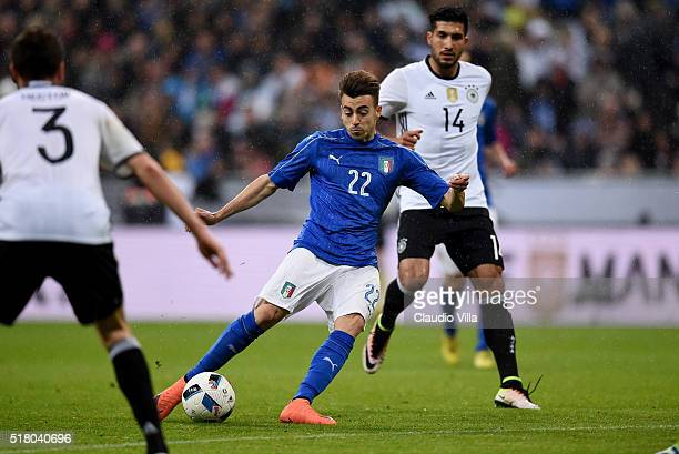 Stephan El Shaarawy of Italy scores the first goal during the international friendly match between Germany and Italy at Allianz Arena on March 29...