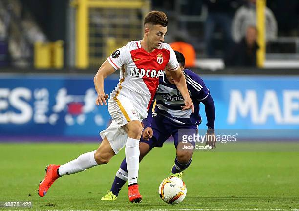 Stephan El Shaarawy of Monaco in action during the UEFA Europa League match between RSC Anderlecht and AS Monaco FC at Stade Constant Vanden Stock on...