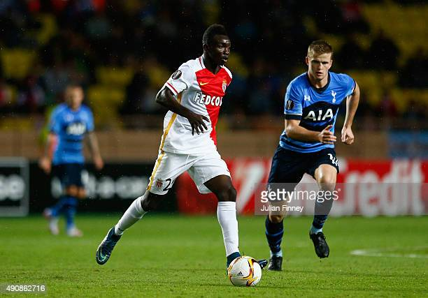 Stephan El Shaarawy of Monaco is marshalled by Eric Dier of Tottenham Hotspur during the UEFA Europa League group J match between AS Monaco FC and...